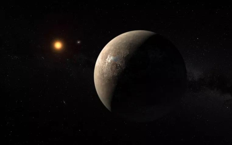 Ilustração mostra o planeta Proxima b orbitando ao redor da anã vermelha Proxima Centauri, vizinha mais próxima do Sol (Foto: ESO/M. Kornmesser)
