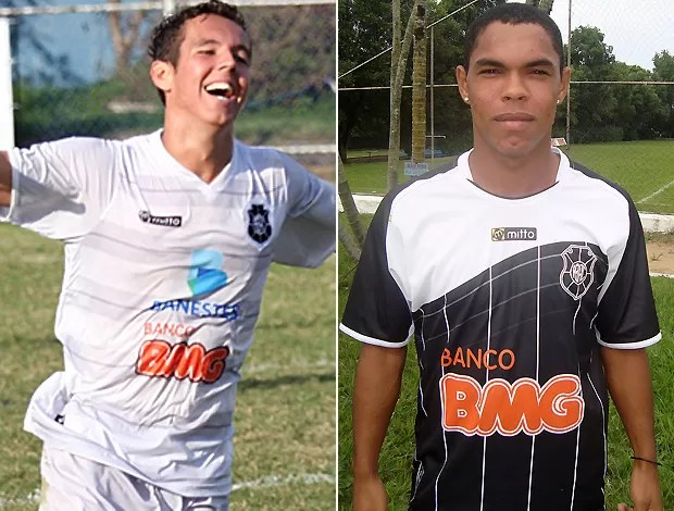 Victor Juffo e Tiago Moura, meia e atacante do Rio Branco-ES (Foto: Simon Dias e Deysiane Gagno)