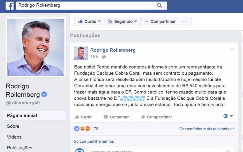 Postagem do governador Rodrigo Rollemberg em rede social, com referência à Fundação Cacique Cobra Coral (Foto: Facebook/Reprodução)
