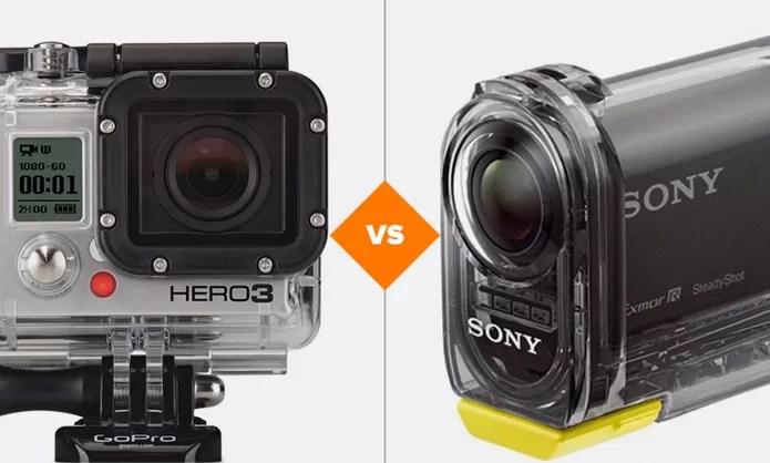 Comparativo GoPro Hero 3+ e Sony Action Cam (Foto: Arte/TechTudo)