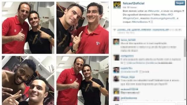 Falcão acompanha vitória do São Paulo sobre o RB Brasil por 3 a 0 (Foto: Reprodução/ Instagram)