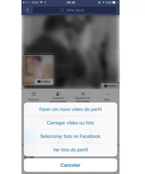 Escolha se deseja fazer vídeo ou carregar um vídeo para foto de perfil (Foto: Aline Jesus/Reprodução)