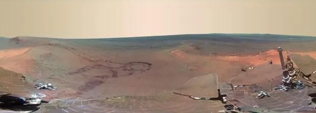 Paisagem da cratera Endeavour, em Marte (Foto: NASA/JPL-Caltech/Cornell/Arizona State Univ.)