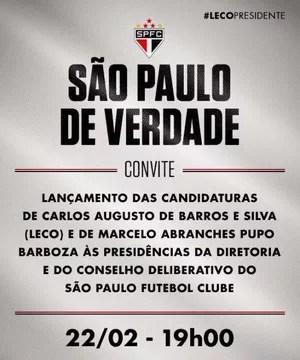 Lançamento campanha de Leco para presidente do São Paulo (Foto: Divulgação)