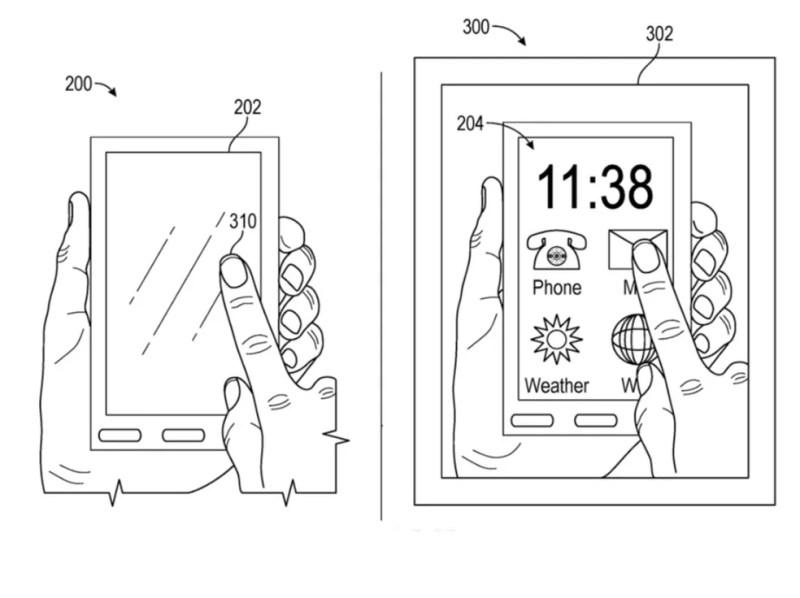 """Detalhe da patente mostra funcionamento da tecnologia. À esquerda, a tela do celular """"desligada""""; à direita, como ela é vista pelo usuário do Apple Glass — Foto: Reprodução/AppleInsider"""