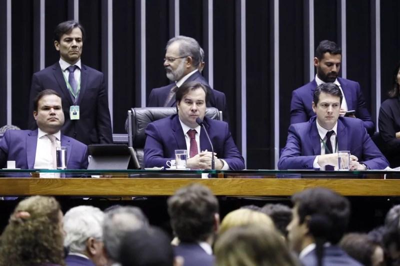 O presidente da Câmara dos Deputados, Rodrigo Maia (DEM-RJ), durante a sessão desta quinta-feira (23) — Foto: Luis Macedo/Câmara dos Deputados