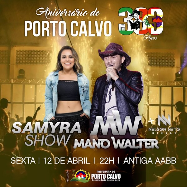 Mano Walter e Samyra Show serão atrações do aniversário de Porto Calvo, AL — Foto: Divulgação/Ascom