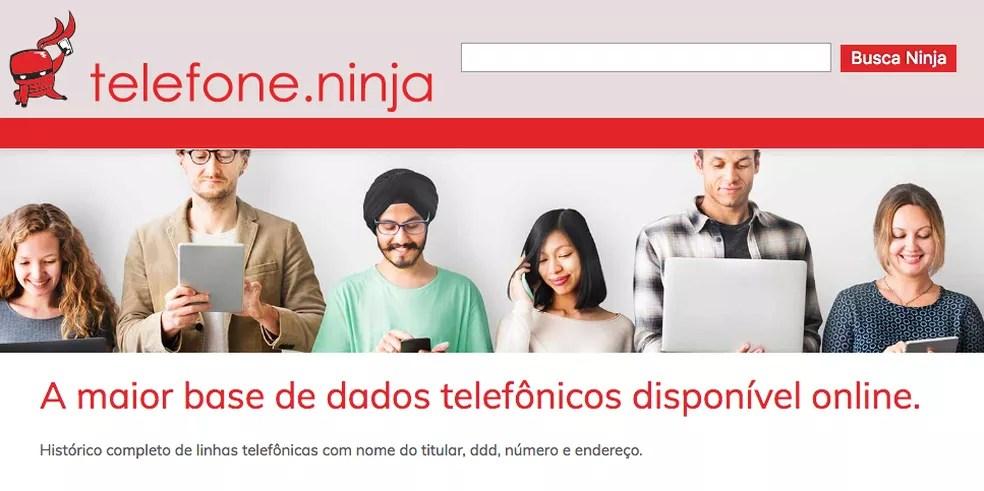telefone.ninja causa tensão na Internet com divulgação de dados pessoais (Foto: Reprodução / TechTudo)