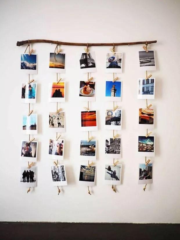 Mural de fotos com polaroids em cascata no barbante (Foto: Pinterest/Reprodução)