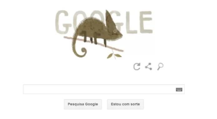 Camaleão ilustra doodle comemorativo (Foto: Reprodução/Google) (Foto: Camaleão ilustra doodle comemorativo (Foto: Reprodução/Google))