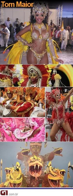 Tom Maior - Escola foi a última a desfilar na primeira noite do Carnaval de São Paulo (Foto: G1)