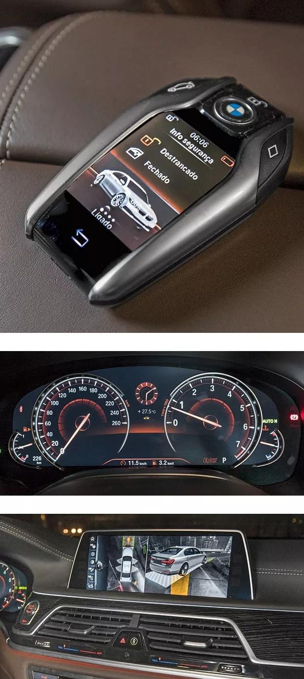 """A """"chave-morfador"""" permite visualizar a distância dados  e estado do veículo. Câmeras 360° exibem miniatura 3D do carro para ajudar manobras (Foto: Marcos Camargo)"""