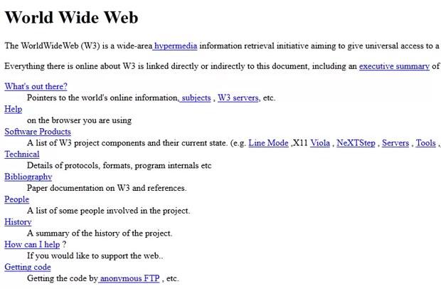 Primeiro site publicado na internet (Foto: Reprodução)