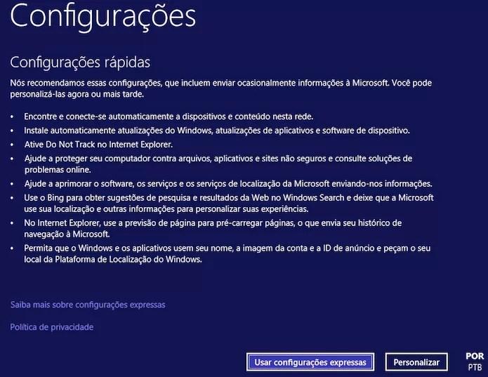 Configuração inicial do Windows 10 (Foto: Reprodução/Helito Bijora)