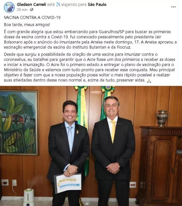 Governador anunciou a viagem em sua rede social  — Foto: Reprodução/Facebook