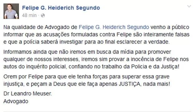 Advogado de Felipe G. Heiderich Segundo postou mensagem em defesa do pastor (Foto: Reprodução/Facebook)