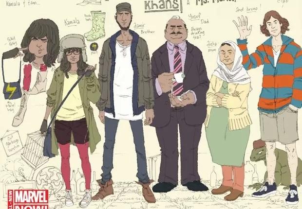Kamala Khan, segunda da esquerda para a direita, com o irmão, o pai Yusufi, a mãe Misha e o amigo Bruno (Foto: AP)  (Foto: AP)