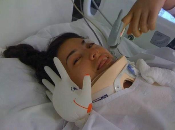Danielle Nobile na UTI após o acidente — Foto: Arquivo pessoal