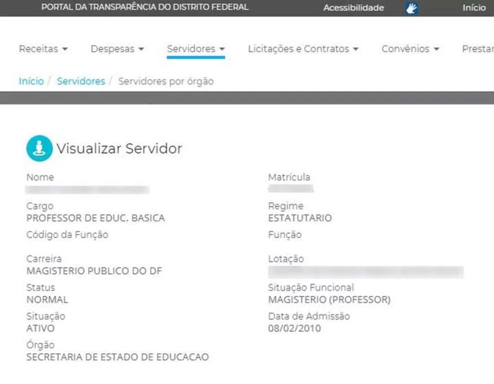 Informações no Portal da Transparência sobre o professor detido — Foto: Portal da Transparência/Reprodução