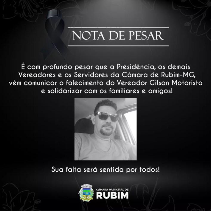 Câmara de Rubim emitiu nota de pesar pela morte do vereador — Foto: Câmara Municipal de Rubim