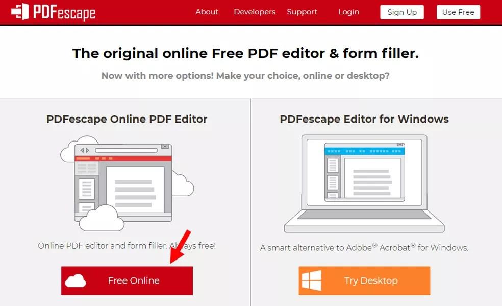 PDF Escape funciona gratuitamente no navegador — Foto: Reprodução/Rodrigo Fernandes