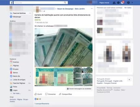 Homem anunciou venda de Carteira de Habilitação em um grupo do Facebook (Foto: Reprodução/Facebook)