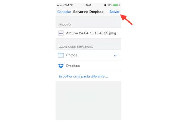 Salvando uma foto recebida no WhatsApp no Dropbox pelo iPhone