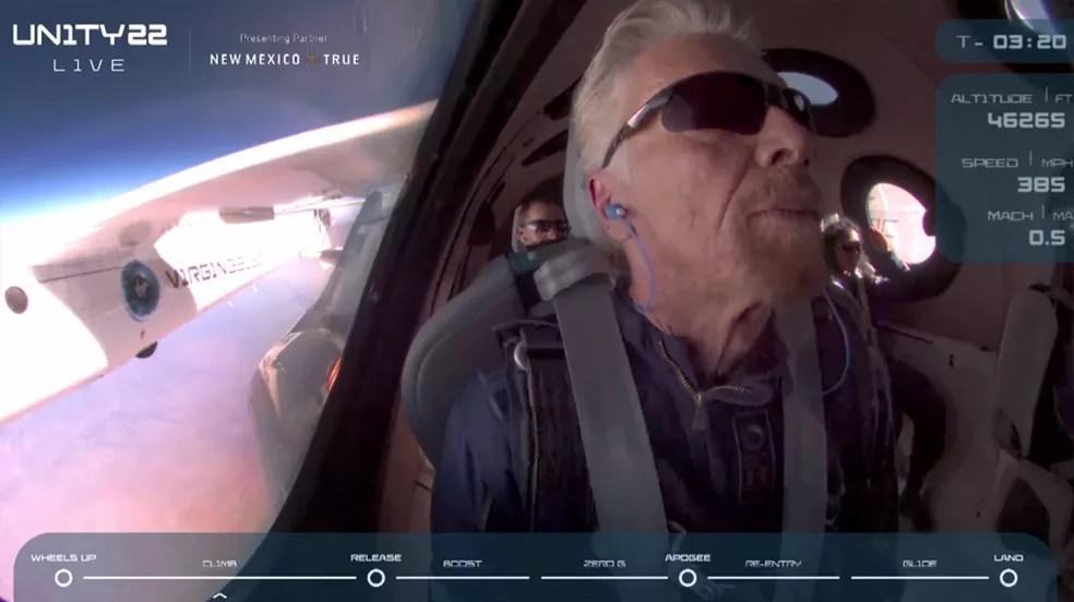 Richard Branson e mais 5 viajam ao espaço — Foto: Reprodução