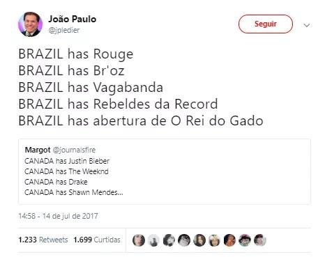 Brazil has... (Foto: Twitter/Reprodução)