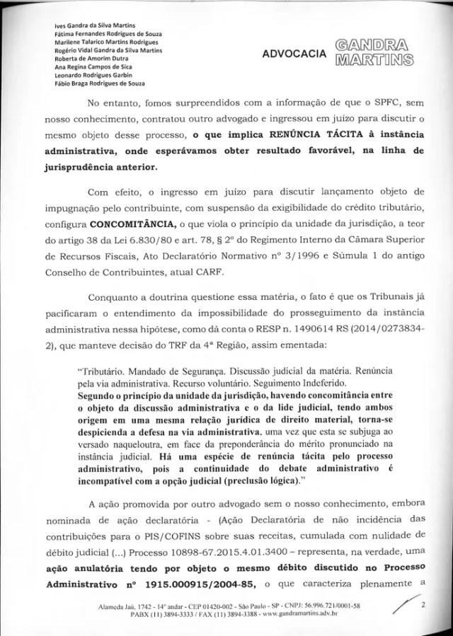 Carta Ives Gandra para Leco São Paulo 2 (Foto: Arte: GloboEsporte.com)