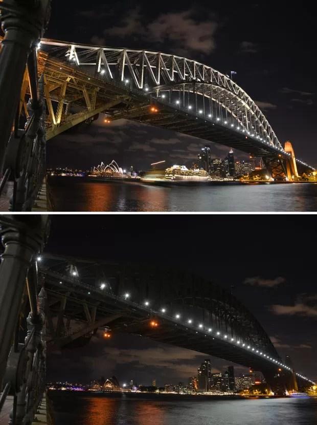Combinação de fotos mostra a Ponte de Sydney e a Opera House com luz e sem luz durante a Hora do Planeta neste sábado (28) (Foto: Peter Parks/AFP)