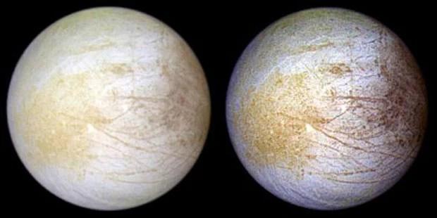 Imagens feitas pela Nasa de Europa, lua de Júpiter (Foto: Nasa/JPL/Universidade do Arizona)
