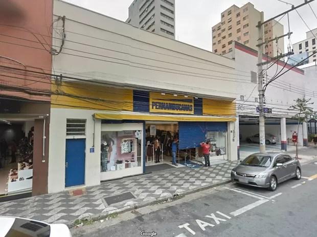 Imagem de maio de 2016 mostra fachada das Lojas Pernambucanas na rua Cardoso de Almeida, na zona oeste de São Paulo (Foto: Reprodução/Google Street View)