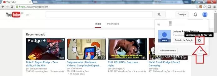 """Clique em """"Configurações do YouTube"""" (Foto: Reprodução/Juliana Pixinine)"""