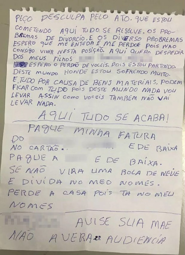 Idoso que matou a ex-mulher a tiros deixa carta de despedida com lembrete (Foto: São Roque Notícias/Divulgação)
