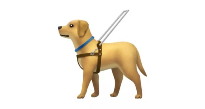 Emoji de cão-guia mostrado com um cinto representa pessoas cegas ou com baixa visão (Foto: Divulgação )