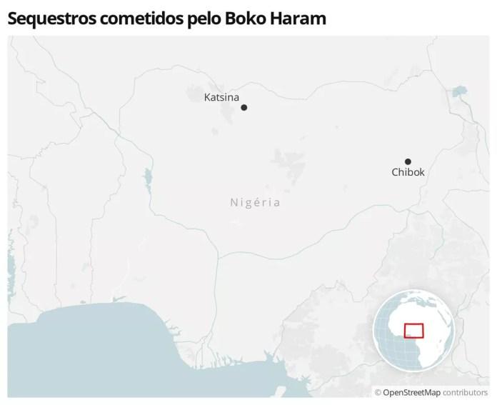 Mapa mostra as cidades onde o Boko Haram sequestrou estudantes em 2020 e 2014 — Foto: G1