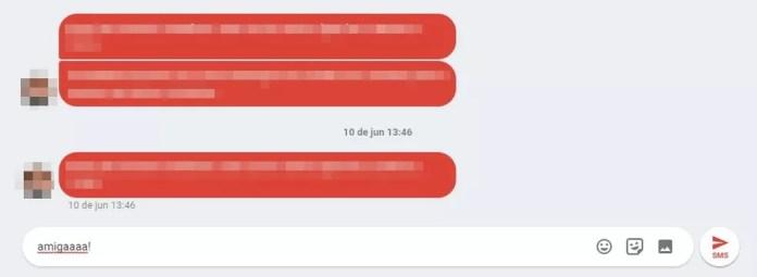 No Android Mensagens usuário paga por cada SMS enviada (Foto: Reprodução/ Taysa Coelho)