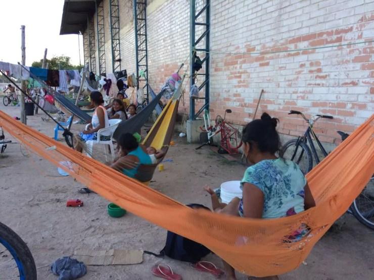 Venezuelanos índios da etnia Warao em abrigo na capital Boa Vista (Foto: Emily Costa/G1 RR)