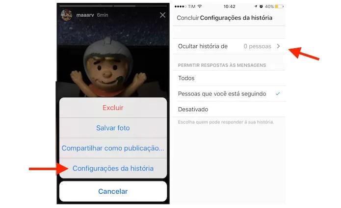 Acessando as configurações de privacidade do Instagram Stories (Foto: Reprodução/Marvin Costa)