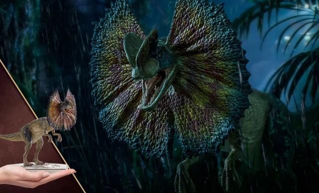 Dilophosaurus retratado na franquia Jurassic Park (Foto: Divulgação)