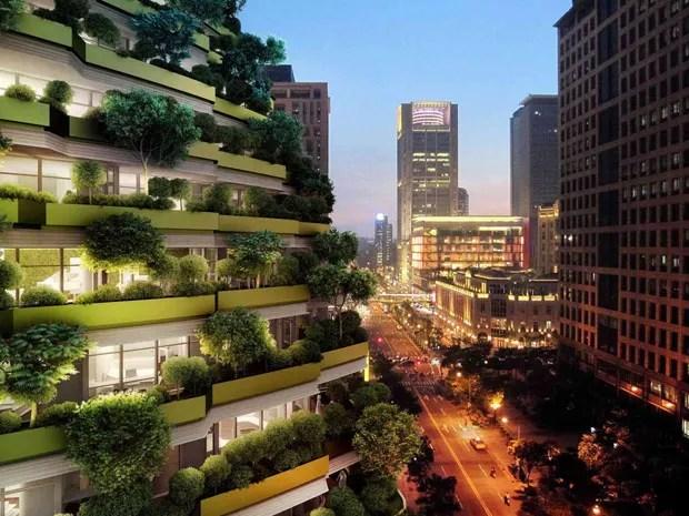 Com 23 mil árvores, prédio foi projetado para reduzir o carbono no ar (Foto: Reprodução)