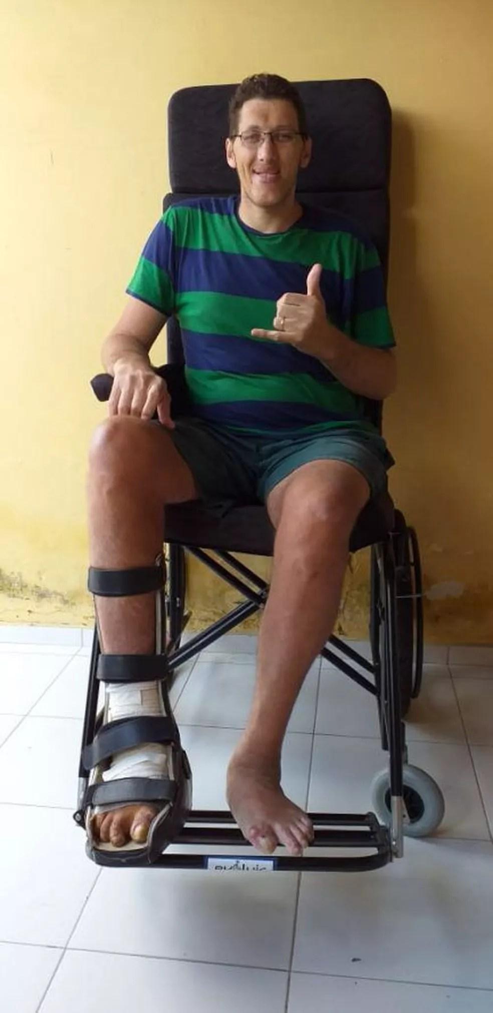 Homem mais alto do Brasil, Joelison Fernandes da Silva, deixou de andar há mais de 4 anos — Foto: Joelison Fernandes da Silva/Arquivo pessoal