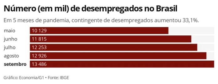 Brasil registrou alta de 33,1% no número de desempregados diante da pandemia — Foto: Economia/G1