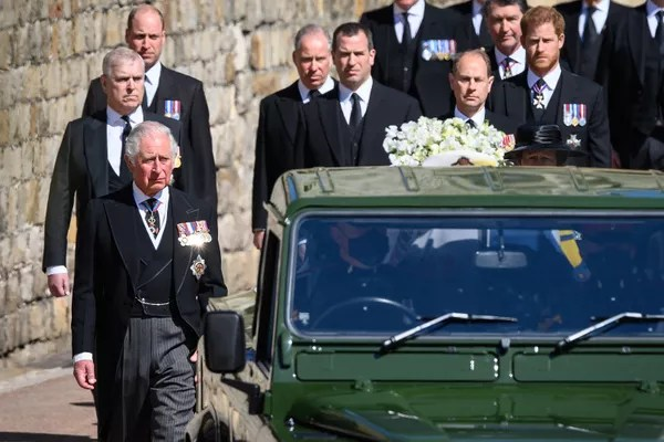 Princes Charles, William and Harry at Prince Philip's funeral (Photo: Getty Images)