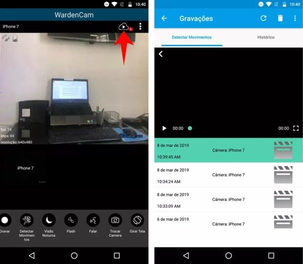 WardenCam mostra o histórico de gravações feitas pelo celular — Foto: Reprodução/Rodrigo Fernandes
