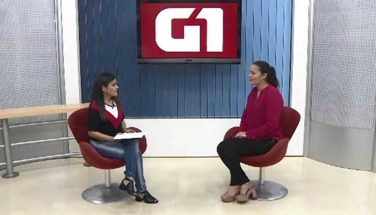 Janaína foi a quarta candidata ao governo entrevistada pelo G1 nesta quinta-feira (13) — Foto: Reprodução/Rede Amazônica Acre