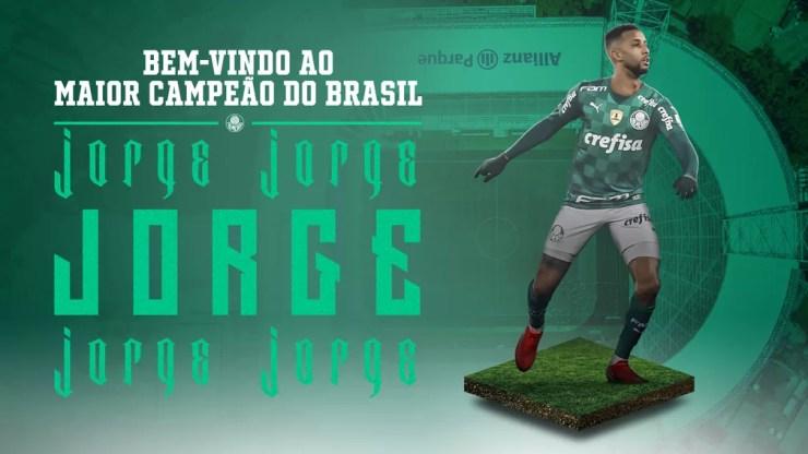 Palmeiras anunciou Jorge nesta sexta-feira — Foto: Reprodução / Site do Palmeiras
