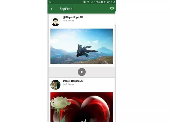 ZapZap permite publicar em feed parecido com redes sociais — Foto: Divulgação/ZapZap