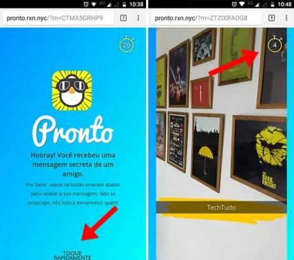 Toque várias vezes na tela para ver a mensagem secreta no Pronto! Mensagens secretas (Foto: Reprodução/Paulo Alves)